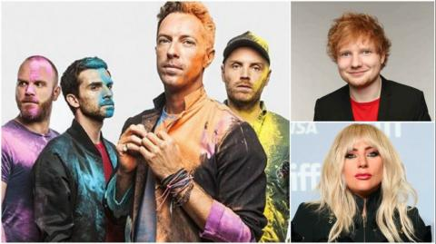 Coldplay, Ed Sheeran y Lady Gaga.