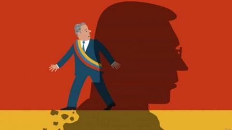 Con esta caricatura, describe The Economist al Presidente Duque.