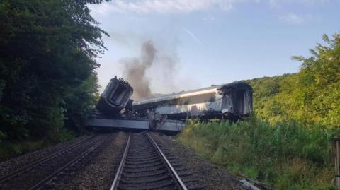 Accidente de tren en Escocia.